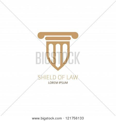 Lawyer logo template. Law office logo in the form of shield with greece column. Vector illustration.