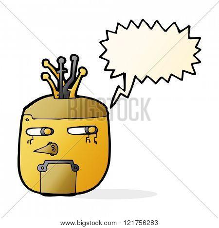 cartoon gold robot head with speech bubble