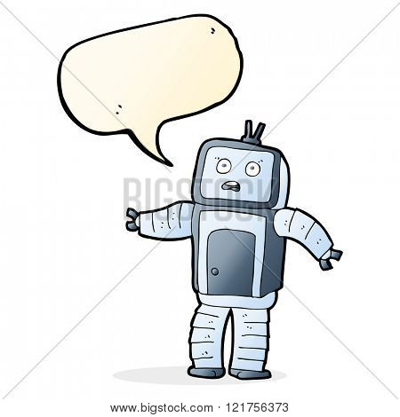 cartoon funny robot with speech bubble