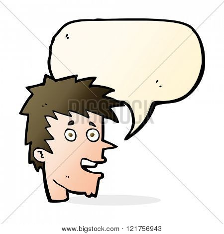 cartoon happy boy face with speech bubble