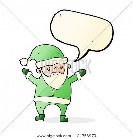 cartoon dancing santa with speech bubble