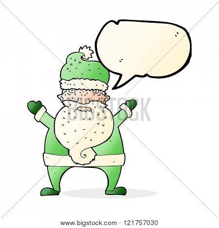cartoon ugly santa claus with speech bubble