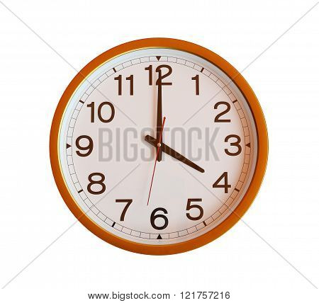 orange wall clock isolated in four o'clock on white background.