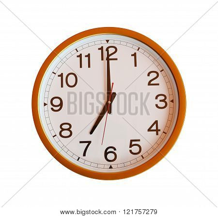 orange wall clock isolated in seven o'clock on white background.