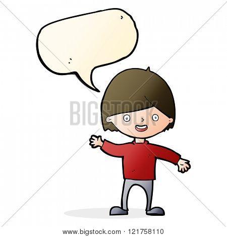 cartoon waving boy with speech bubble