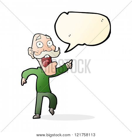 cartoon frightened old man with speech bubble