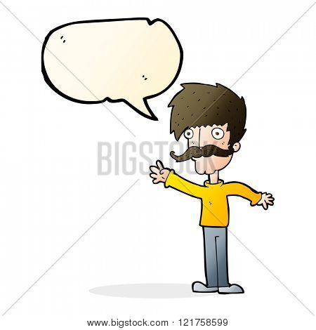 cartoon waving mustache man with speech bubble
