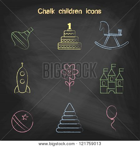 Set of linear icons. Children's toys collection of vector icons. Outline vector whirligig, cake, a h