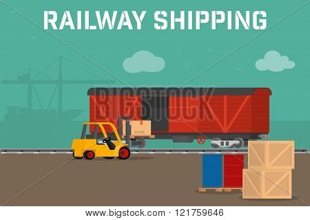 Railway logistic concept transport delivery services. Cargo transportation by train. Workers loading