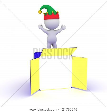3D Character With Elf Hat And Open Gift Box