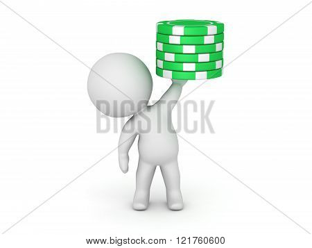 3D Character Holding Small Stack Of Poker Chips