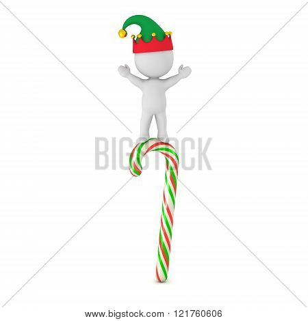 3D Character With Elf Hat Standing With Arms Raised On Multicolored Candy Cane