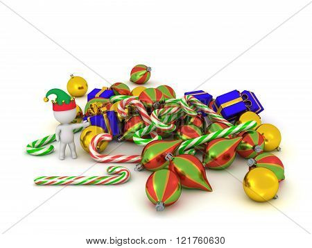 3D Character With Elf Hat Showing Pile Of Christmas Goodies
