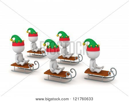 3D Characters With Elf Hats Riding Sleds
