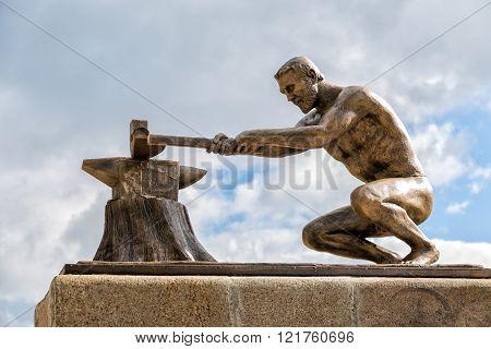 Monument Pioneer Chernozemya. Panino. Russia