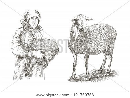 Female farmer holding a lamb in his hands