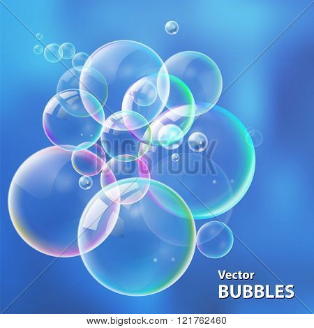 Set colorful bubbles in vector. Isolated  water bubbles collecti