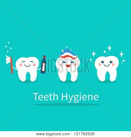 Tooth hygiene set. Banner with happy cute tooth.Teeth care and hygiene concept. Vector flat illustration. poster