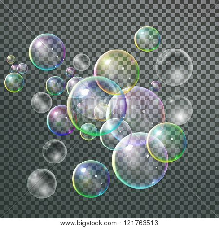 Set colorful bubble in vector. Isolated Soap Water bubbles colle