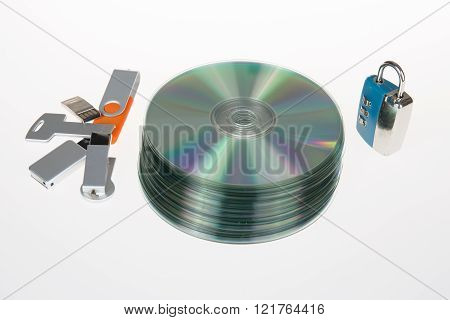 Unlocked Open Padlock With Usb Memory Stick And Cd Disk Isolated On White Background