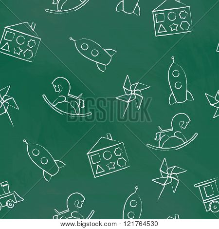 Seamless pattern  green chalk board with white children's chalk drawings. Hand-drawn style. Seamless
