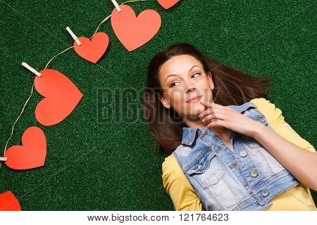 Woman thinking about love