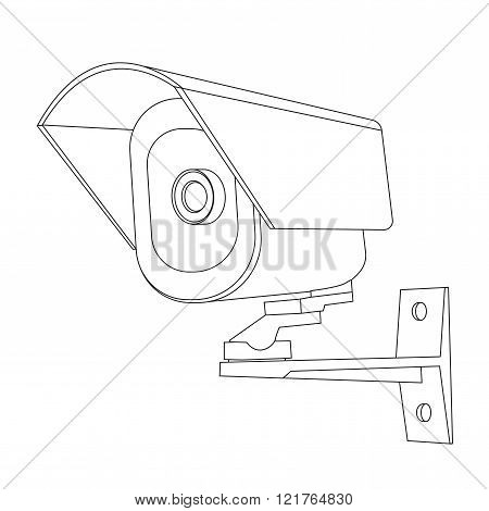 Video surveillance CCTV security camera icon outline