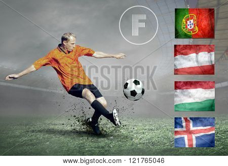 Soccer player on field. Group of national teams.