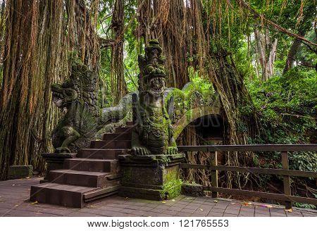 Dragon Bridge in Sacred Monkey Forest Sanctuary Ubud Bali Indonesia