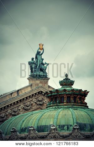 Paris Opera roof as the city famous tourism attraction and landmark.