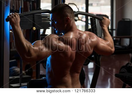 Muscular Man Doing Heavy Weight Exercise For Back