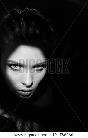 photo of sensual womanin black and white