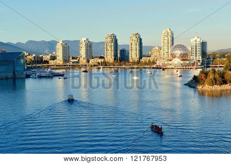 Vancouver urban architecture at sunset, Canada.