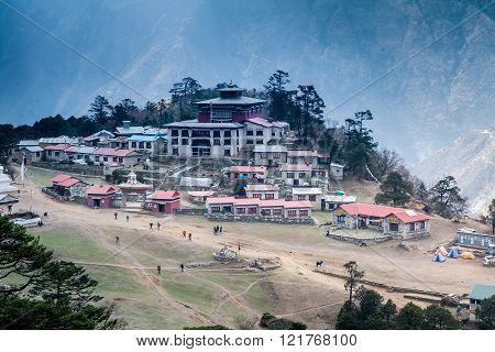 KHUMBU VALLEY, Tengboche, NEPAL, 26 APRIL 2013 -Tengboche Monastery Mountain view from the mountain. Nepal.