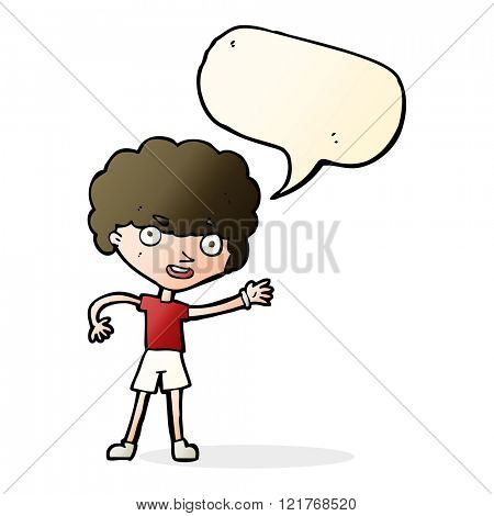 cartoon sporty person with speech bubble