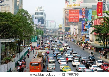 Roads with traffic jams in Bangkok.