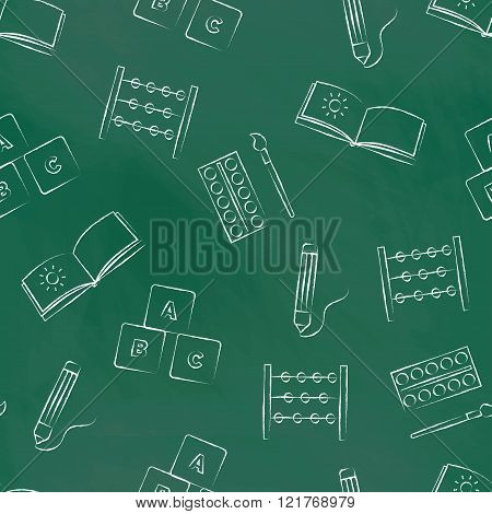 Seamless pattern green chalk board with children's chalk drawings. Hand-drawn style. Seamless vector
