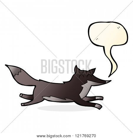 cartoon running wolf with speech bubble