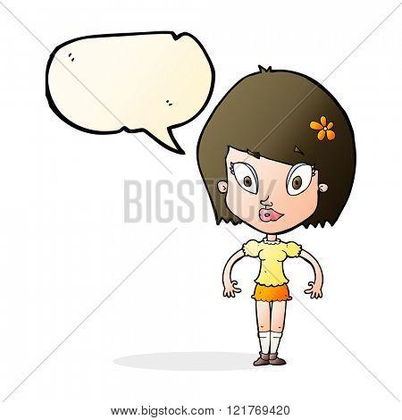 cartoon pretty woman with speech bubble