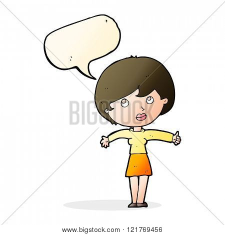 cartoon woman giving thumbs up with speech bubble