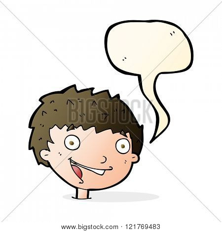 cartoon laughing boy with speech bubble