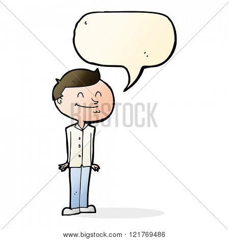 cartoon smiling man with speech bubble