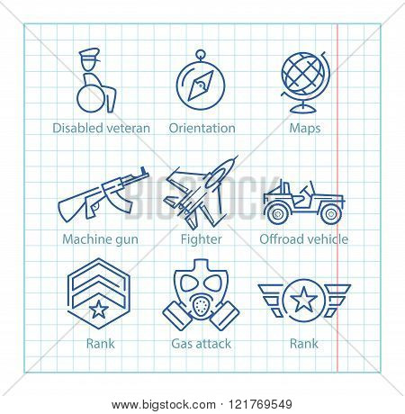 Vector Thin Line Icons Set For Military Infographics And Ux/ui
