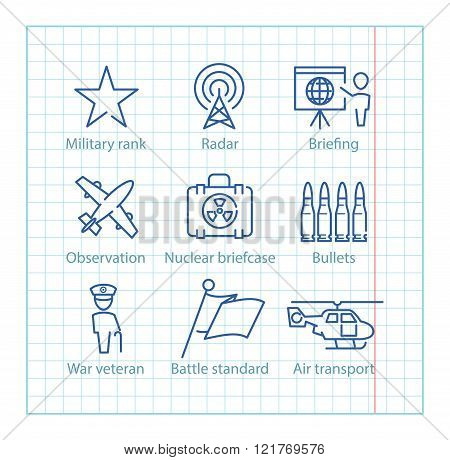 Vector Thin Line Icons Set For Military Infographics, Mobile Game Ux,ui