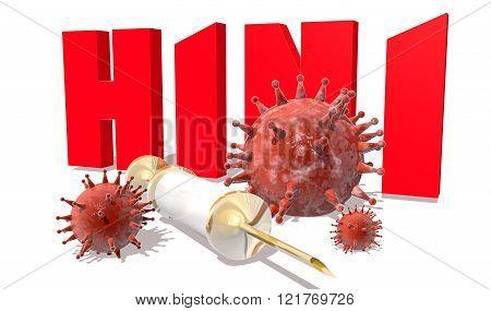 H1N1 Desease, Abstract Virus Models And Syringe