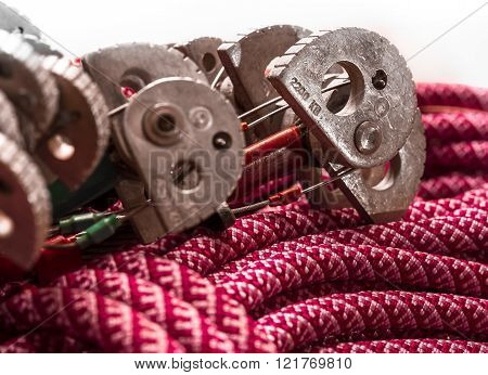 Climbing Equipment - Winded Rope With Cam.