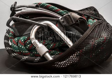 Climbing Equipment Packed In A Bag.