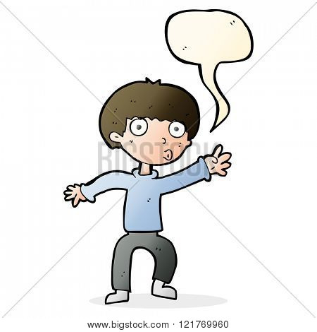 cartoon boy waving warning with speech bubble