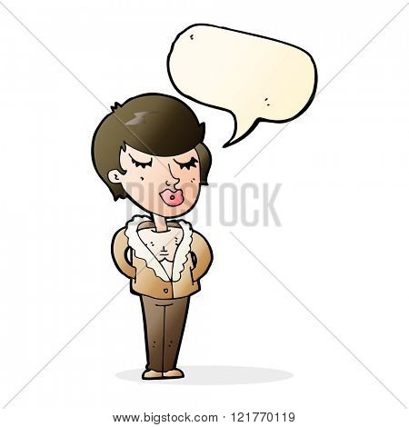 cartoon cool relaxed woman with speech bubble