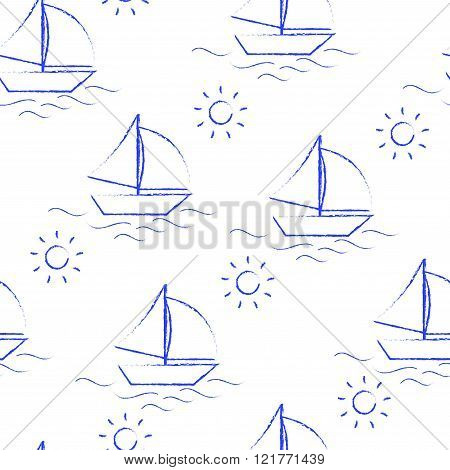 Seamless pattern blue crayon children's drawings on white background. Hand-drawn style. Seamless vec